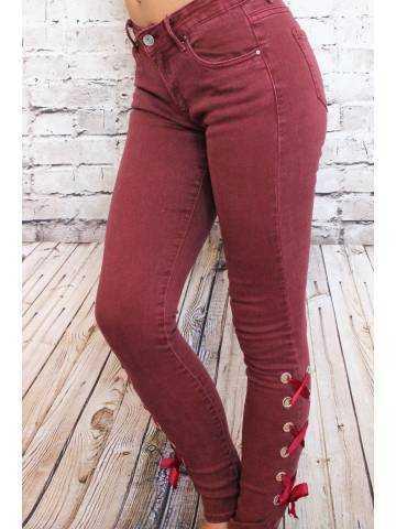 """Mon Jeans bordeaux """"ruban lacet"""""""