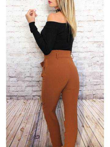 Pantalon taille haute camel