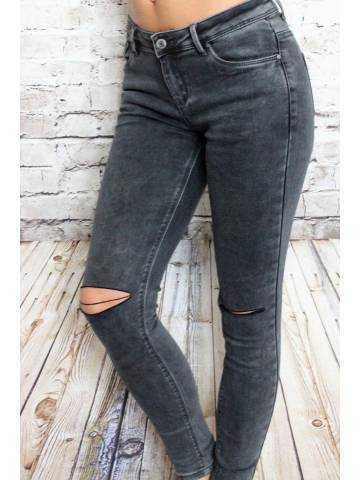 """Pantalon kaki foncé skinny taille haute """"genou déchirés"""""""