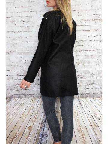Veste en lainage ,noire et perles 2