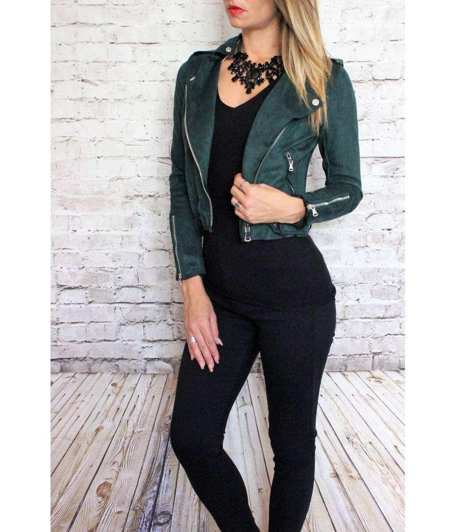 "Bien-aimé Perfecto vert émeraude ""style daim"" - My Look Féminin, Un Concept  ZW45"
