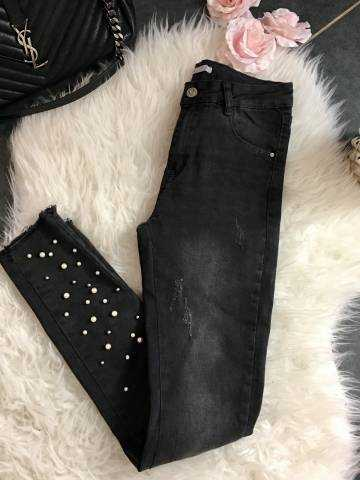 """Mon jeans gris foncé """"jolies perles"""""""