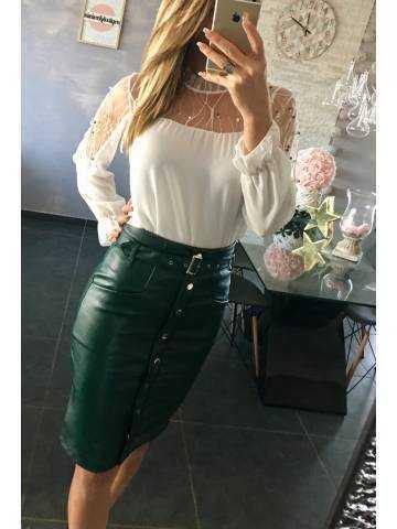 Ma jupe style cuir vert émeraude