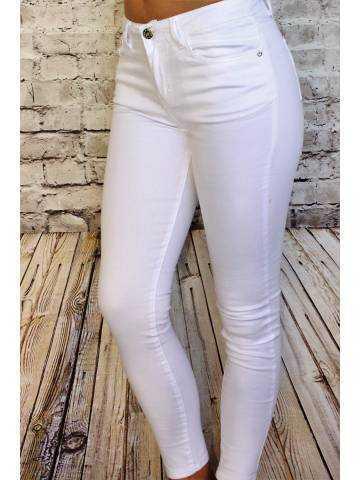 Pantalon blanc skinny taille moyenne