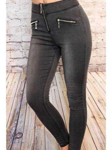 """Mon Jeans gris foncé """"zips"""" 2"""