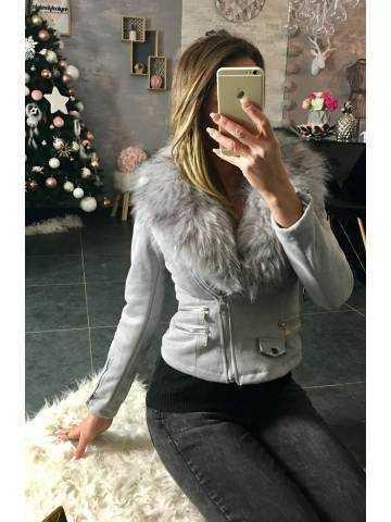 Perfecto gris doublé et col style fourrure