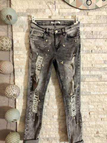 """Mon jeans gris clair """"genou déchiré et perles blanches"""" 2"""
