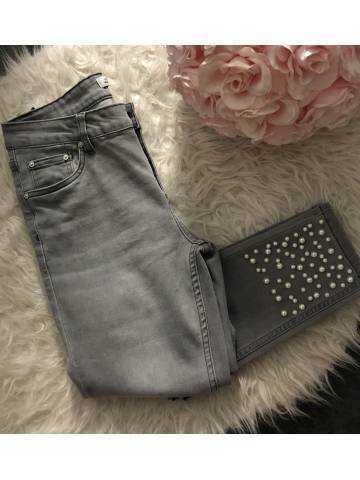 "Mon jeans gris clair ""perles blanches"""