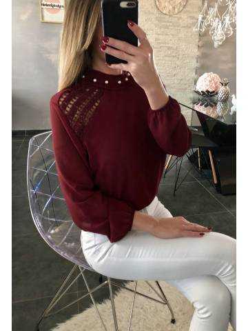"""Ma blouse blanche """"col cheminé et perles"""""""
