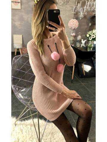 "Ma robe pull rose pâle ""collier pompon gris"" 2"