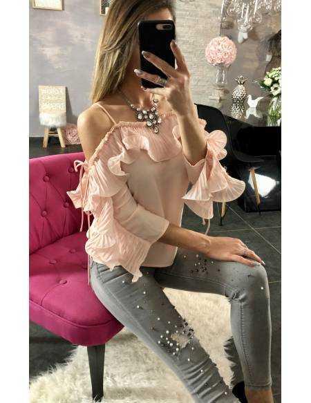 """Ma blouse rose poudré """"fines brettelles et volants"""""""