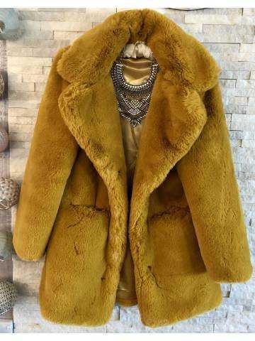 "Manteau loose ""style"" fourrure moutarde"