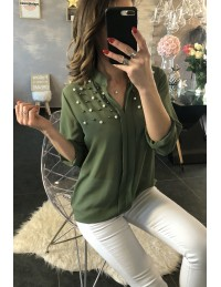 "Ma blouse kaki ""voilage et perles"""