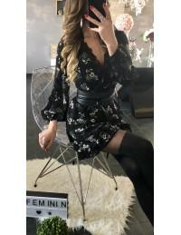 "Ma superbe robe noire imprimée fleuri ""cache coeur"""