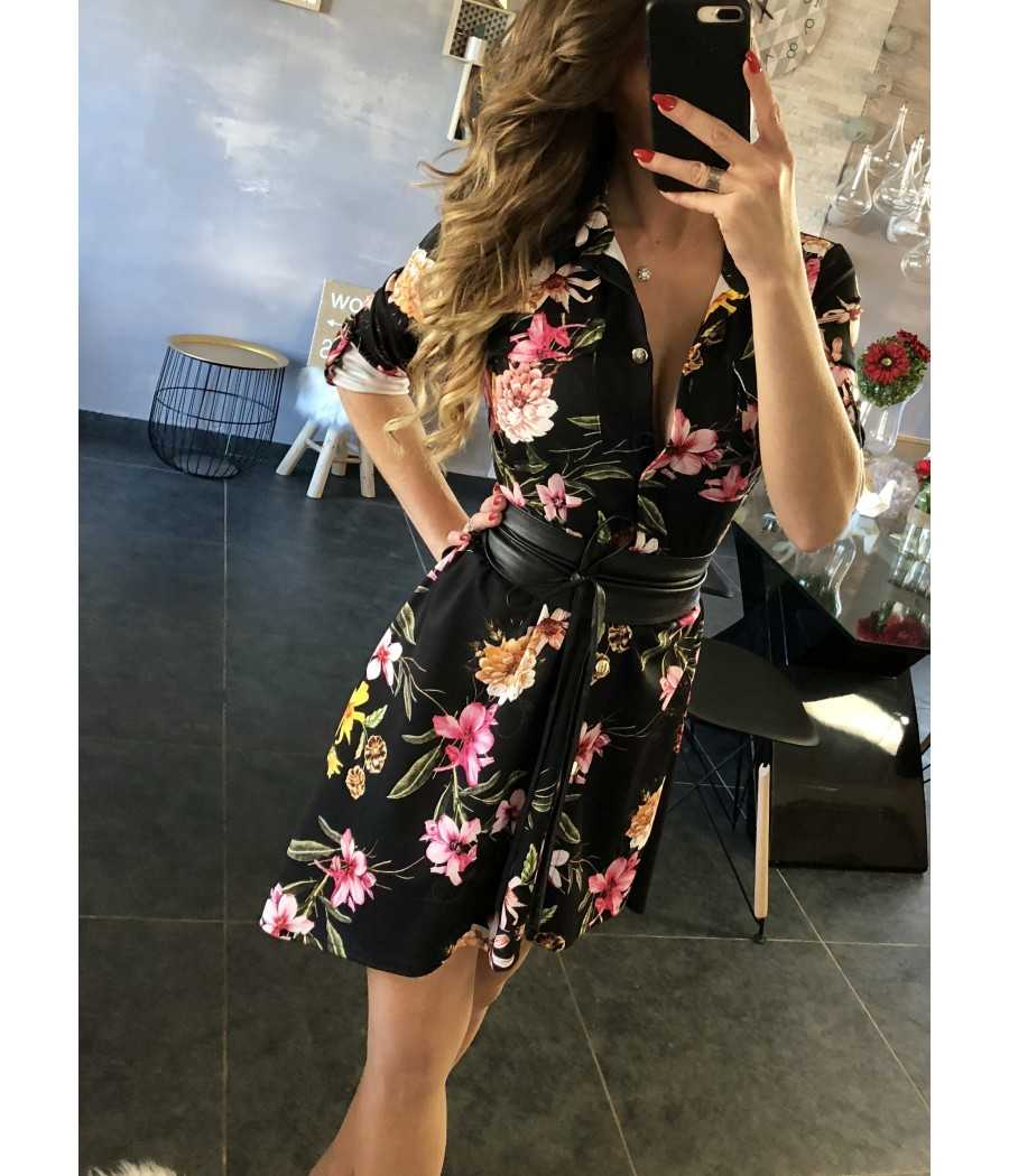 "Ma fabuleuse robe chemisier noire ""fleurie"""