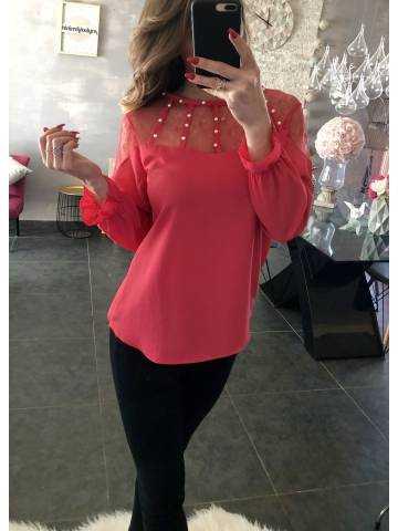 "Ma blouse fuchsia ""col montant et perles"""