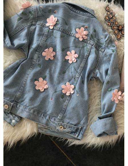 """Ma jolie veste en jeans """"roses rose"""""""