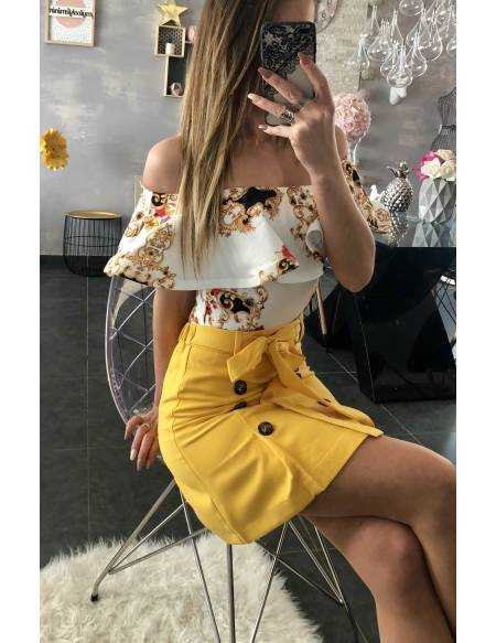 "Ma petite jupe ""jaune et boutonnée"""