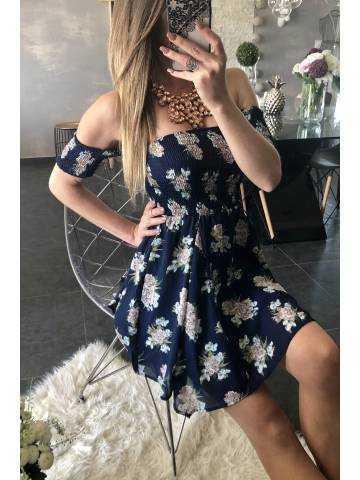 "Ma jolie robe bleue marine fleurie ""smokée"""
