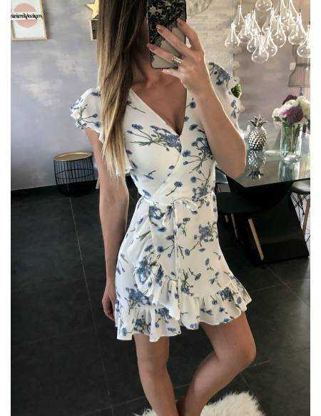 "Ma superbe robe blanche imprimée fleuri ""cache coeur"" 2"