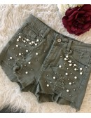 "Short en jeans ""jolie dentelle blanche"""