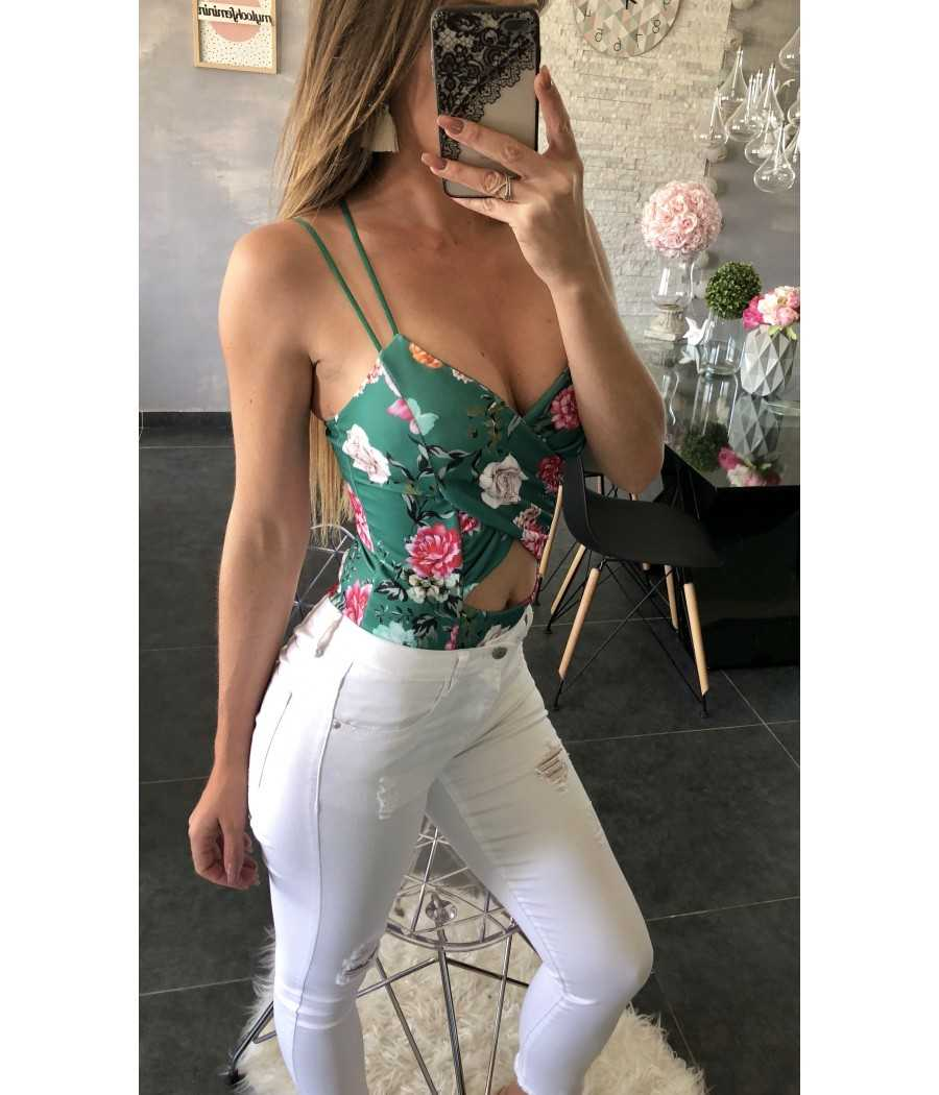 """Mon body vert dos croisé """"flowers"""""""