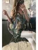 """Ma blouse cache coeur satinée """"vert d'eau et imprimé"""""""