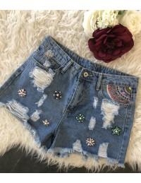 """Short jeans destroy """"strass et broderies"""""""
