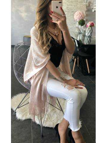 Gilet kimono rose métalisé