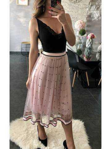 Ma jupe m-longue rose pâle