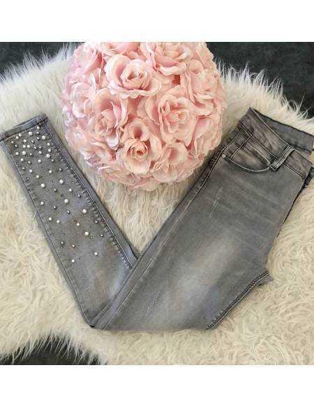 """Mon new jeans gris clair """"chevilles et perles blanches"""""""