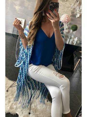 Gilet kimono bleu zig zag