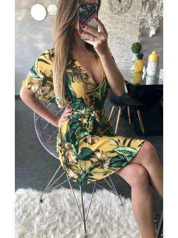 "Ma jolie petite robe moutarde manches courtes ""so jungle"""