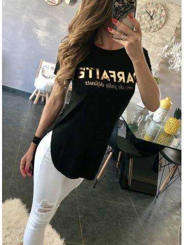 "Tee-shirt long blanc ""gold parfaite"""