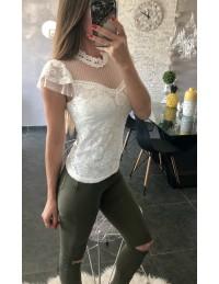 """Mon joli top blanc """"plumetis et dentelle"""" 2"""