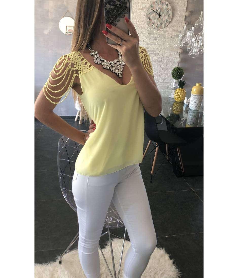 "mon top ample jaune  ""jolies épaules"""
