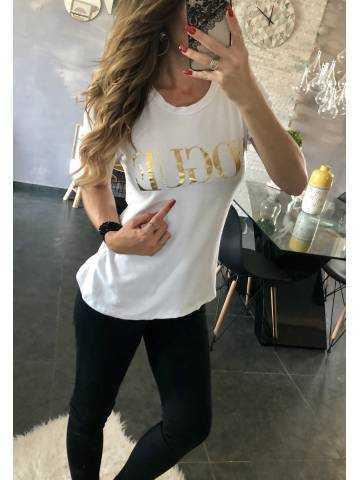"Tee-shirt blanc ""gold vogue"""