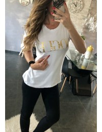 "Tee-shirt blanc ""gold vogue"" 2"