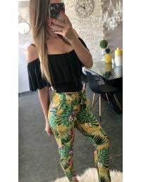 "Pantalon léger moutarde ""tropical"""