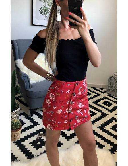 "Ma petite jupe rouge fleurie ""boutonnée"""