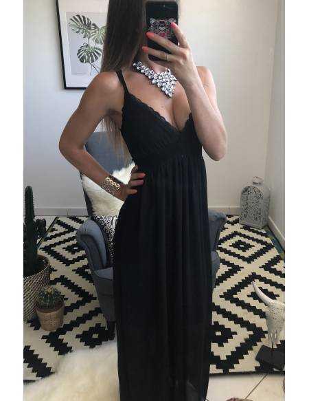 "Robe longue noire ""fines brettelles et dentelle"""
