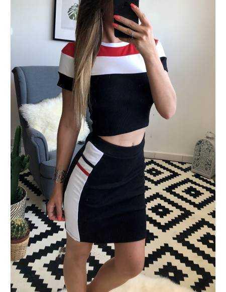Ensemble top et jupe noir et bandes blanches