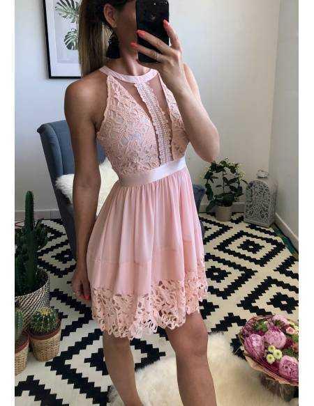 """Ma superbe robe rose poudré """"col américain et dentelle"""""""