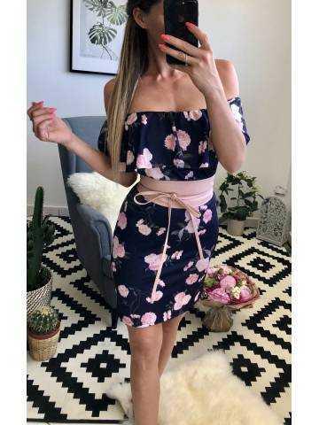 """Ma robe bustier blanche imprimée """"flowers pink"""" et sa ceinture"""