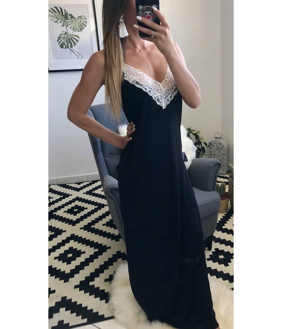 ma jolie robe longue noire et dentelle blanche my look f minin un concept un look un prix. Black Bedroom Furniture Sets. Home Design Ideas