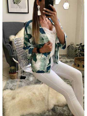 """Mon gilet kimono blanc """"tropical"""" 2"""