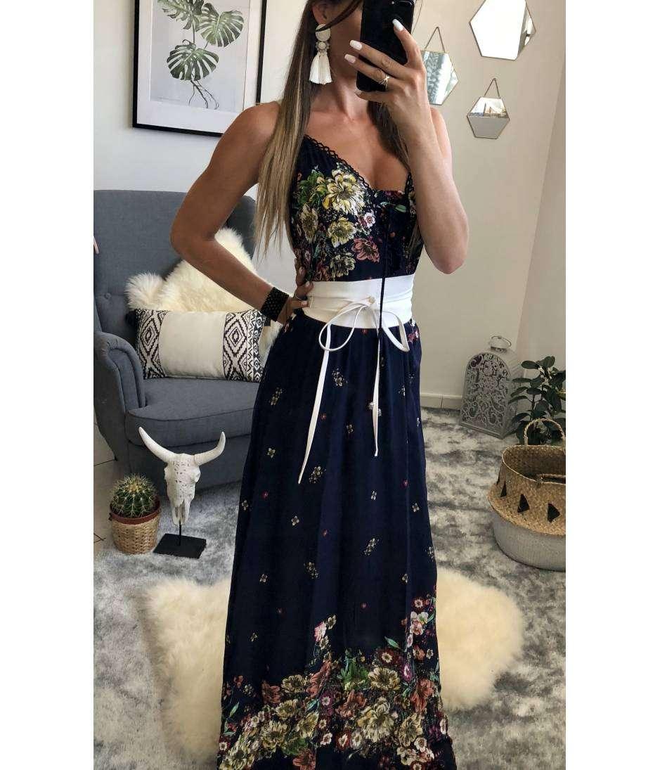 Robe longue bleue marine imprimé fleuri et sa ceinture
