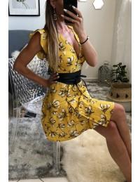 "Ma petite robe moutarde fleurie ""cache coeur"" et sa ceinture"