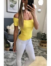 """Mon petit top jaune côtelé """"porté épaules"""""""
