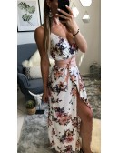 """Robe longue blanche volant """"jungle and flowers"""""""